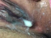 Creamy oozing cunt masturbation