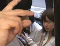 Japanese teen fingered on the bus