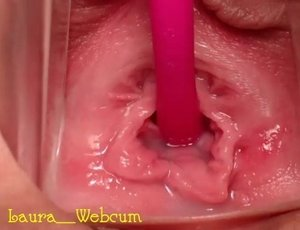 extreme close up of a pink wet vagina | creamy-pussy