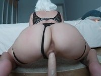 Creamy ride on floor mounted dildo