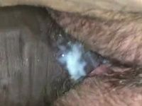Chunky chick fucked in her creamy hairy vagina