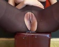 Milky squirting creamy orgasm from hot Euro babe